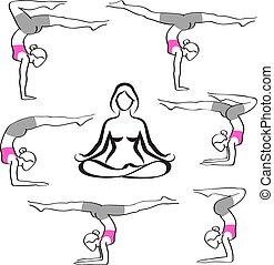 silhouette, elegante, yoga, donna, pose, collezione