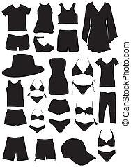 silhouette, estate, moda, vestiti