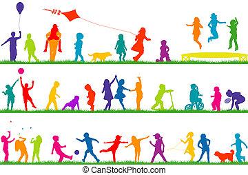 silhouette, esterno, bambini giocando, colorato