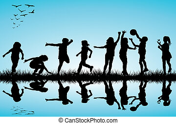 silhouette, esterno, gruppo, gioco, bambini