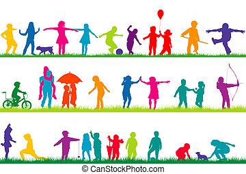 silhouette, esterno, set, gioco, bambini