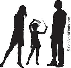 silhouette, famiglia, felice