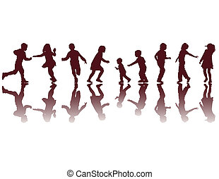 silhouette, felice, bambini