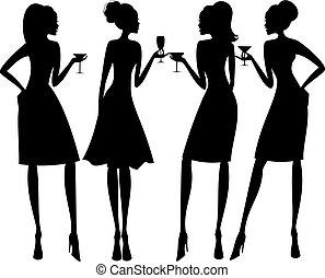 silhouette, festa, cocktail