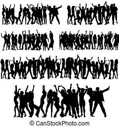 silhouette, folla