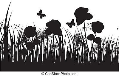 silhouette, fondo, erba, vettore