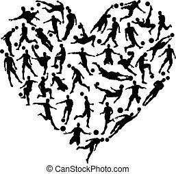 silhouette, football, calcio, cuore