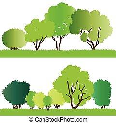silhouette, foresta, albero