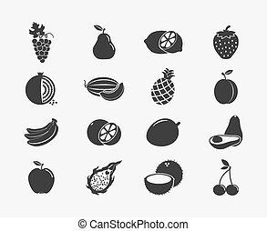 silhouette, frutta, icone