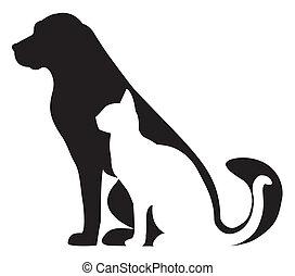 silhouette, gatto, composizione, cane