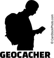 silhouette, geocacher, uomo