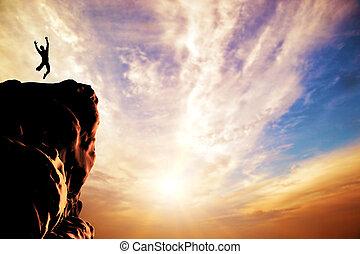 silhouette, gioia, saltare, tramonto, picco, uomo, montagna, scogliera