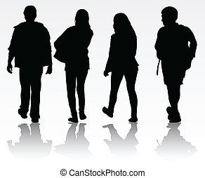 silhouette, giovani persone