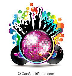 silhouette, globo, discoteca