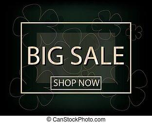 silhouette, grande, vendita, fondo, fiori, tuo, design.