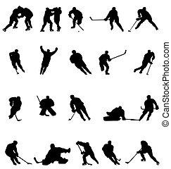silhouette, hockey, collezione
