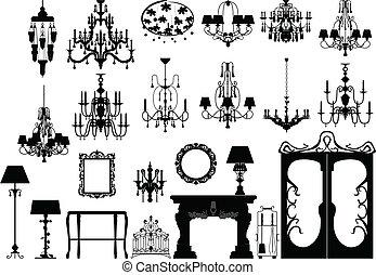 silhouette, illuminazione, mobilia
