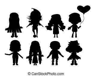 silhouette, illustrazione, collezione, bambino