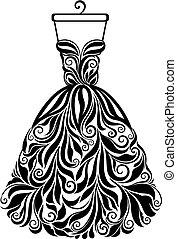 silhouette, isolato, indietro, vettore, vestito floreale