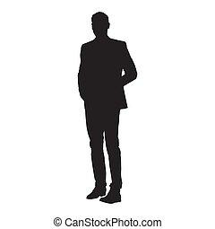 silhouette, isolato, vettore, completo, uomo affari sta piedi