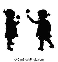 silhouette, lecca lecca, illustrazione, bambino