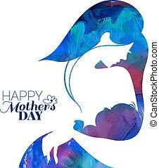 silhouette, lei, madre, bambino, dipinto acrilico