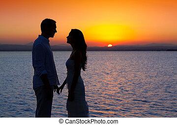 silhouette, luce, coppia, indietro, lago, tramonto, amore