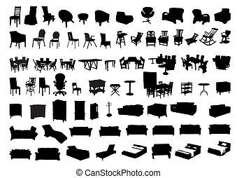 silhouette, mobilia, icona
