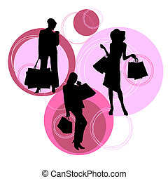 silhouette, moderno, shopping, donne