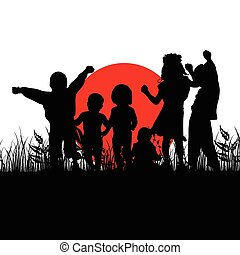 silhouette, natura, sole, illustrazione, bambini, rosso