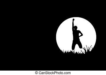 silhouette, nero, libertà, persone