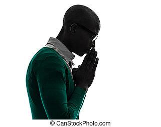 silhouette, nero, pregare, malinconico, pensare, uomo, africano