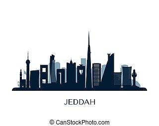 silhouette., orizzonte, monocromatico, jeddah