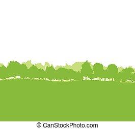 silhouette, paesaggio, foresta, albero