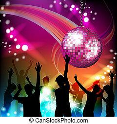 silhouette, palla, discoteca