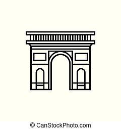 silhouette, parigi francia, vector., arco triumphal, icona
