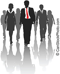 silhouette, persone affari, passeggiata, risorse umane