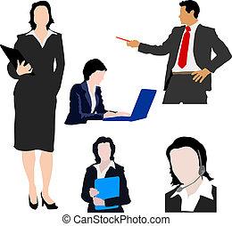 silhouette, persone affari
