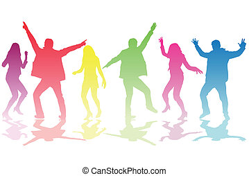 silhouette, persone, ballo