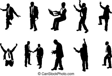 silhouette, persone, concetto, affari