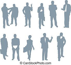 silhouette, persone, ufficio, affari