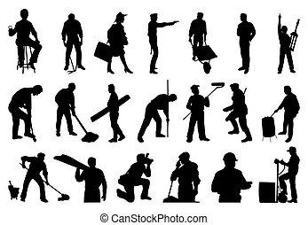 silhouette, persone., vettore, illustrazione, lavorativo