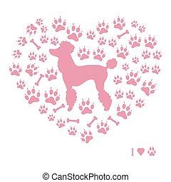 silhouette, piste, forma, barboncino, ossa, fondo, immagine, cane, bello, heart.