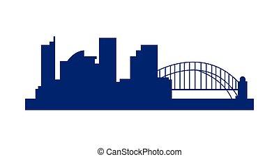 silhouette, ponte, cityscape, sydney, icona