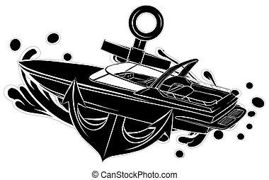 silhouette, pronto, barca, nero, vinile, striscia, vettore, grafica, illustrazione