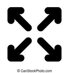 silhouette, quattro, frecce, disegno, indicazione, stile, icona, vettore