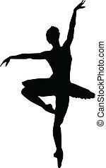 silhouette, ragazza, ballo, balletto