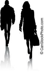 silhouette, ragazze