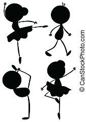 silhouette, ragazzo, ragazza, ballo