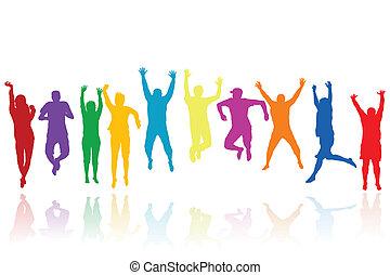 silhouette, saltare, gruppo, giovani persone